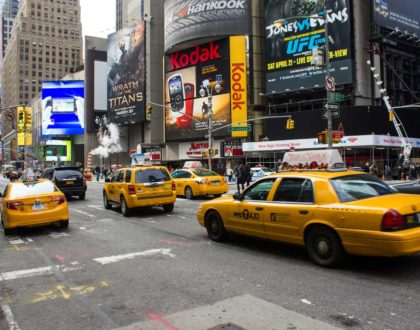 Traffic control test by New York Cabs
